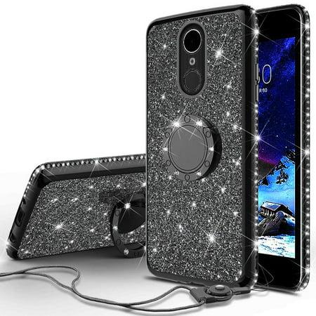- LG Stylo 4 Case, LG Stylo 4 Plus Case, LG Q Stylus Case, SOGA Glitter Diamond Rhinestone TPU Phone Cover with Ring Stand and Lanyard Girls Women Cover (Black)