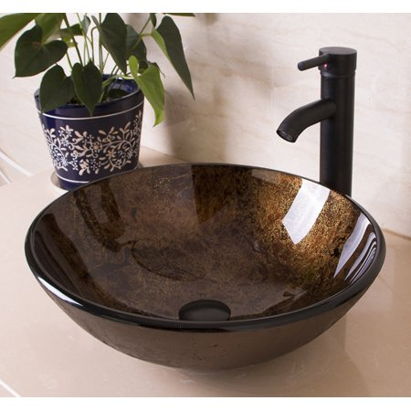 Artistic Glass Vessel Sink Bowl Combo & Oil Rubbed Bronze Faucet Matching Drain