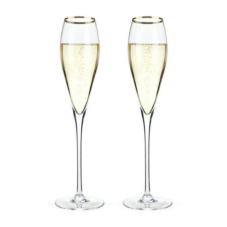 Elegant Crystal Glass - Champagne Flute, Gold Rimmed Crystal Riedel Vintage Elegant Champagne Flutes