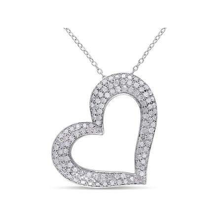 - Miabella 1 Carat T.W. Diamond Sterling Silver Heart Pendant, 18