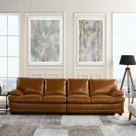 Classic Large Leather Sofa, 111