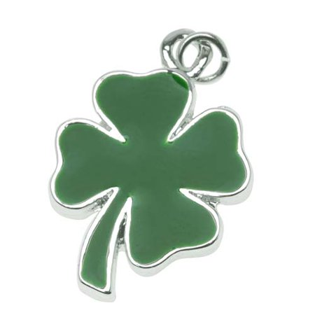 Silver Plated Two Sided Green Four Leaf Clover Shamrock Charm 22mm - Metal Leaf Charms