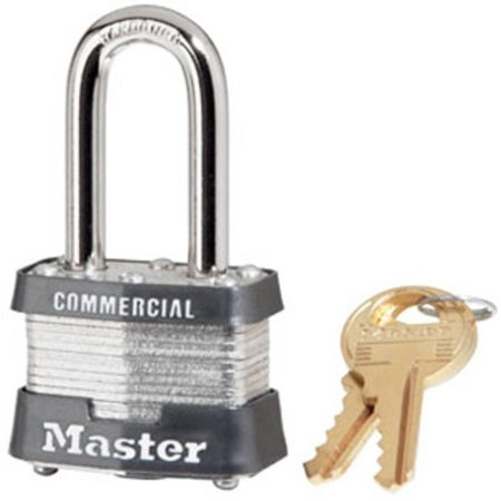 Padlock, Laminated Steel Lock, 1-9/16 in. Wide, 3KALF, PADLOCK APPLICATION: For indoor and outdoor use; Best used for construction sites and industrial.., By Master