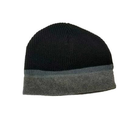 Hat Stocking Cap Beanie - Men's Black and Grey Winter Reversible Beanie Stocking Cap Hat