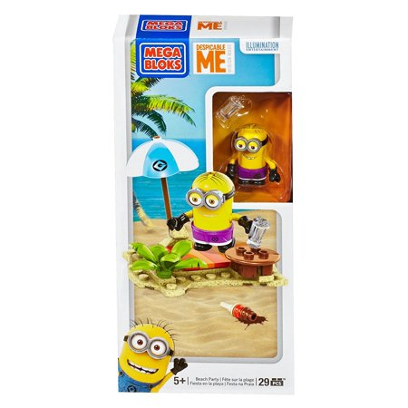Despicable Me Beach Party Set, One buildable Minion character with ice cream cone accessory By Mega Bloks - Different Minion Characters