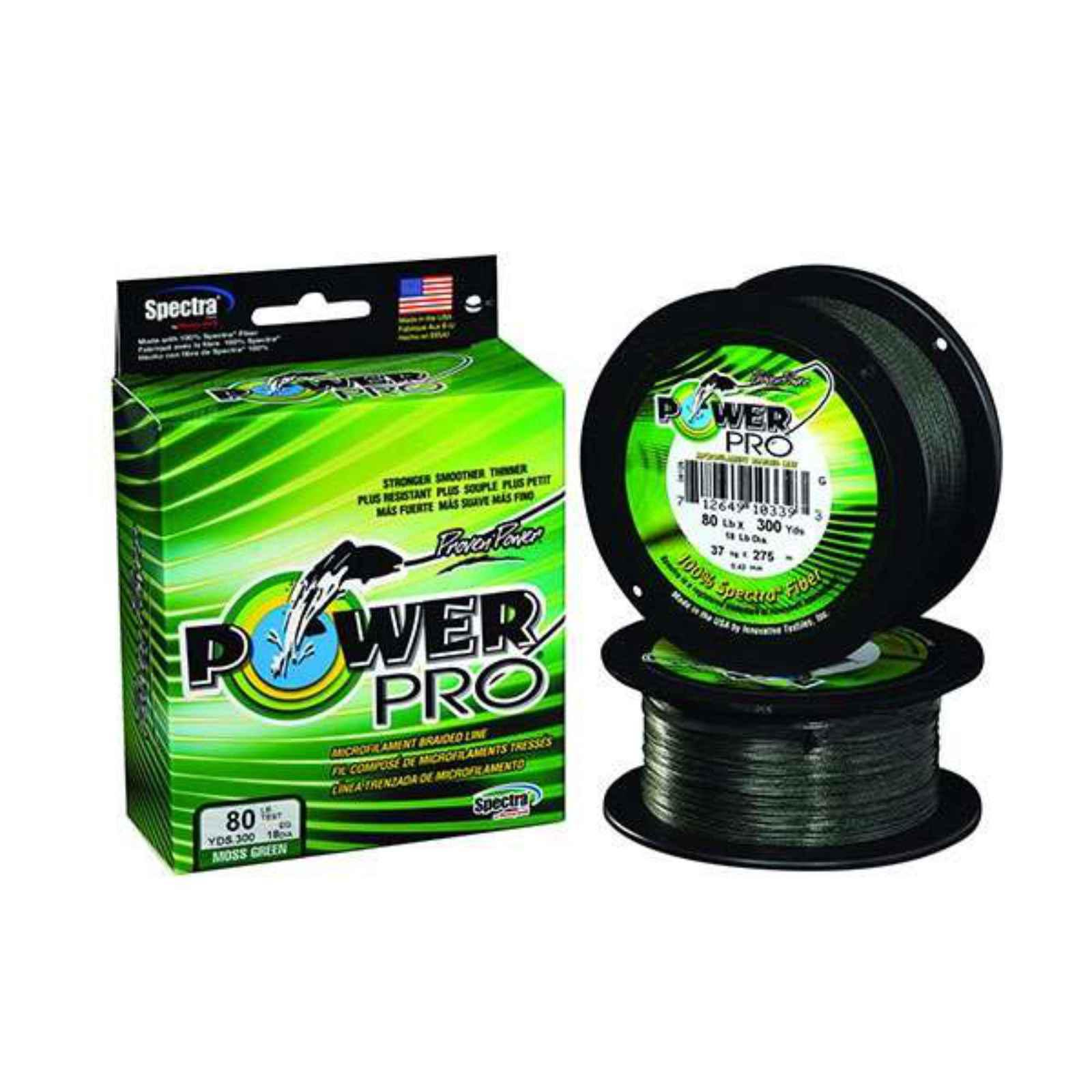 Click here to buy Power Pro Fishing Line Moss Green, 150 yards, 30 lbs by Power Pro.