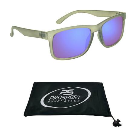 proSPORT Reading Sunglass Full Sun Readers. Horn Rim Grey Frame with Blue Mirrored Lenses for Men and (Thick Rimmed Glasses For Men)