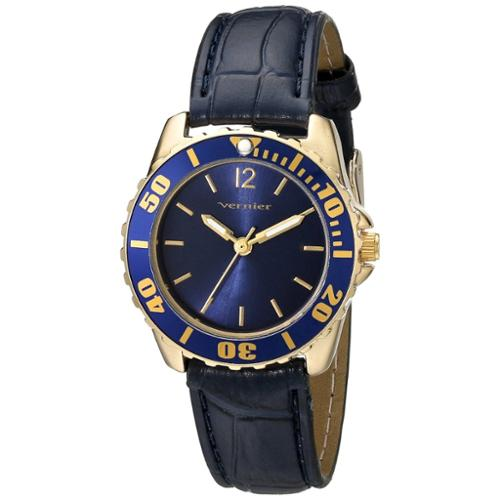 Vernier  Women's Genuine Leather Blue Embossed Diver Watch