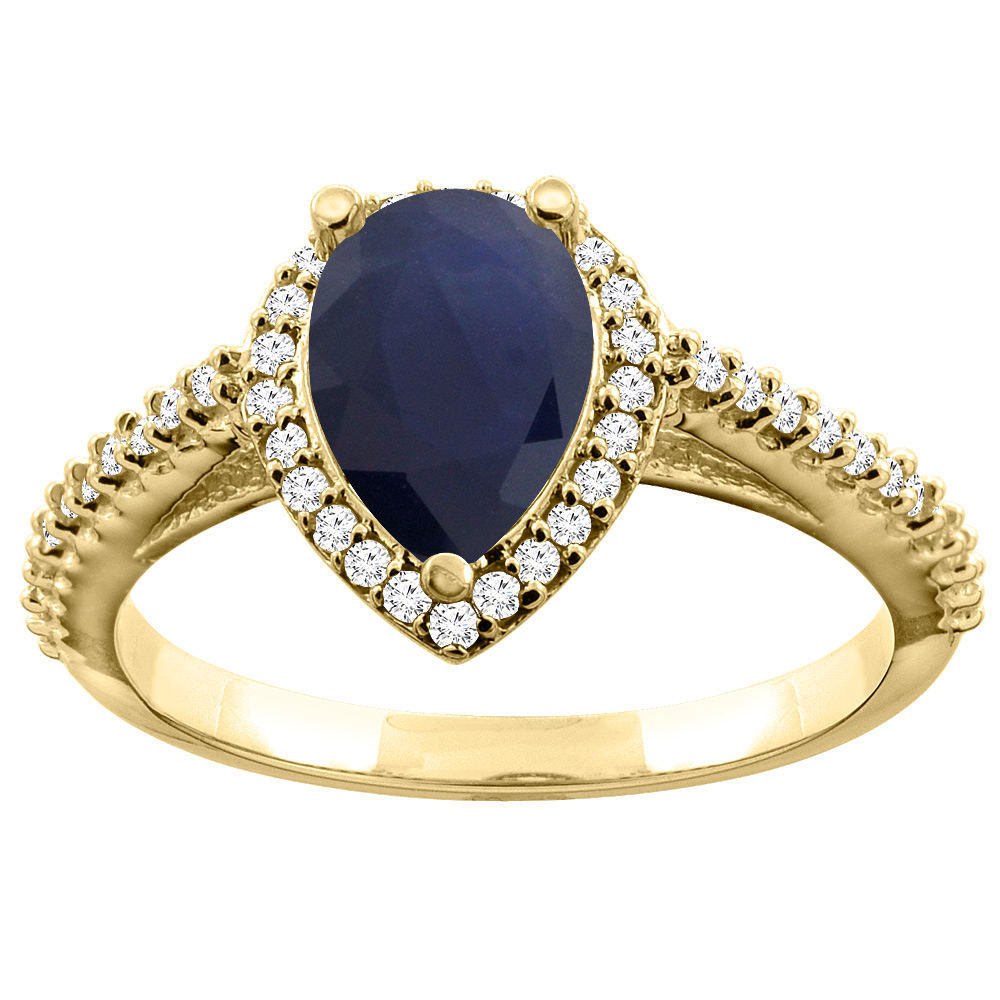 10K Yellow Gold Natural Diffused Ceylon Sapphire Ring Pear 9x7mm Diamond Accents, size 5 by Gabriella Gold