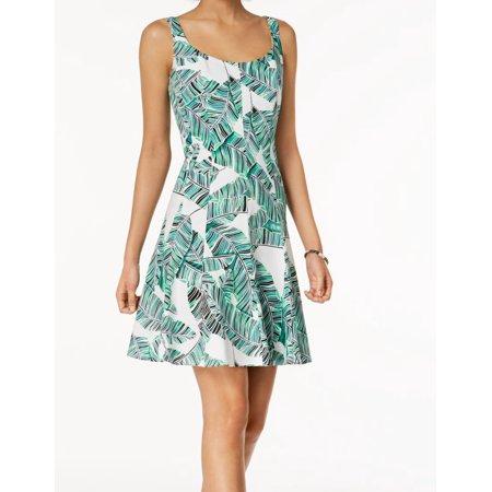 Green White Leaf Tropical Print Flare A-Line Dress $79 14 - Leaf Print Dress