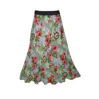 Mogul Womens Maxi Long Skirt Printed Flared Rayon Bohemian Style Tiered Elastic Waist A-Line Gypsy Skirts