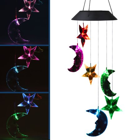 Colorful Solar Powered Wind Waterproof Changing Romantic Star Moon Wind Chime Light Mobile Balcony Courtyard Hanging (for Outdoor Garden)