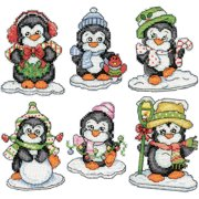 """Penguins On Ice Ornaments Counted Cross Stitch Kit, 3.5"""", 14-Count, Set of 6"""