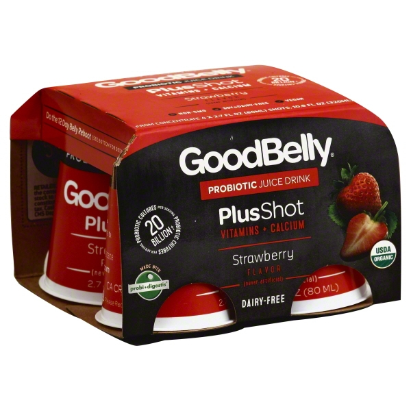 Goodbelly Probiotics Organic Strawberry Juice Drink, 4 ct, 2.7 oz