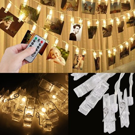 Waterproof LED String 20 Clips Holder Battery Powered Fairy Wedding Party Christmas Home Decor Lights for Hanging Photos, Cards and Artwork, 8 Lighting Modes with Remote Controller ()