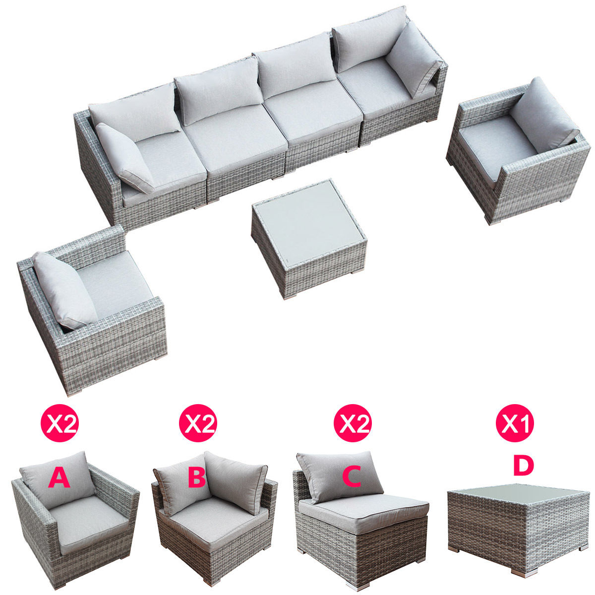 Costway 3-9PCS Patio Rattan Sofa Furniture Set Infinitely Combination PE Wicker Outdoor