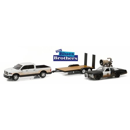 NEW 1:64 GREENLIGHT HOLLYWOOD HITCH & TOW SERIES 1 COLLECTION - BLACK WHITE THE BLUES BROTHERS 1974 DODGE MONACO 'BLUESMOBILE', 2015 RAM 1500 & FLATBED TRAILER Truck Diecast Model Car By Greenlight