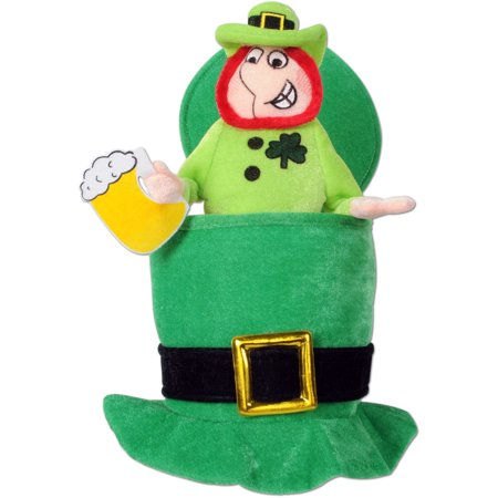 Saint Patrick's Day Green Top Hat With Mini Leprechaun Costume Accessory