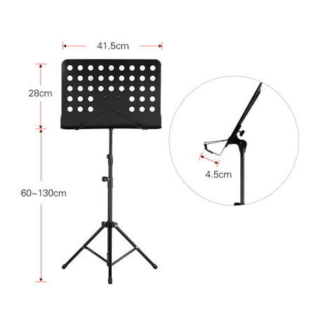 Portable Metal Music Stand Detachable Musical Instruments for Piano Violin Guitar Sheet Music Black - image 7 of 7