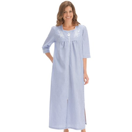 look out for purchase authentic Good Prices Women's Seersucker Zip Front Long Robe, Xxlg, Machine Washable