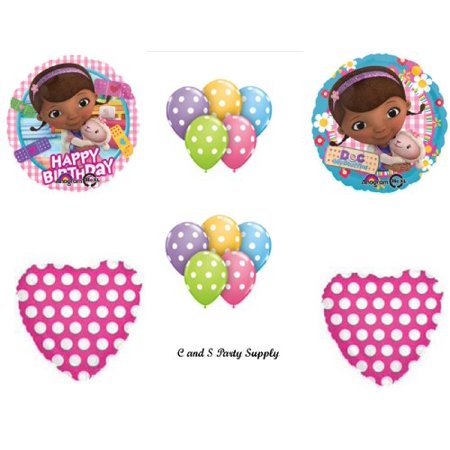 Doc McStuffins Happy Birthday PARTY POLKA DOTS Balloons Decorations
