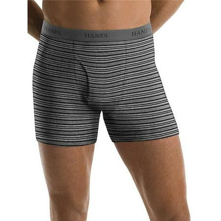 Hanes Men's Tagless Ultimate Fashion Stripe Boxer Briefs with Comfort