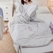Multifunction Lovers Winter Warm Long Sleeve O-Neck Suit Print Thicken Blanket