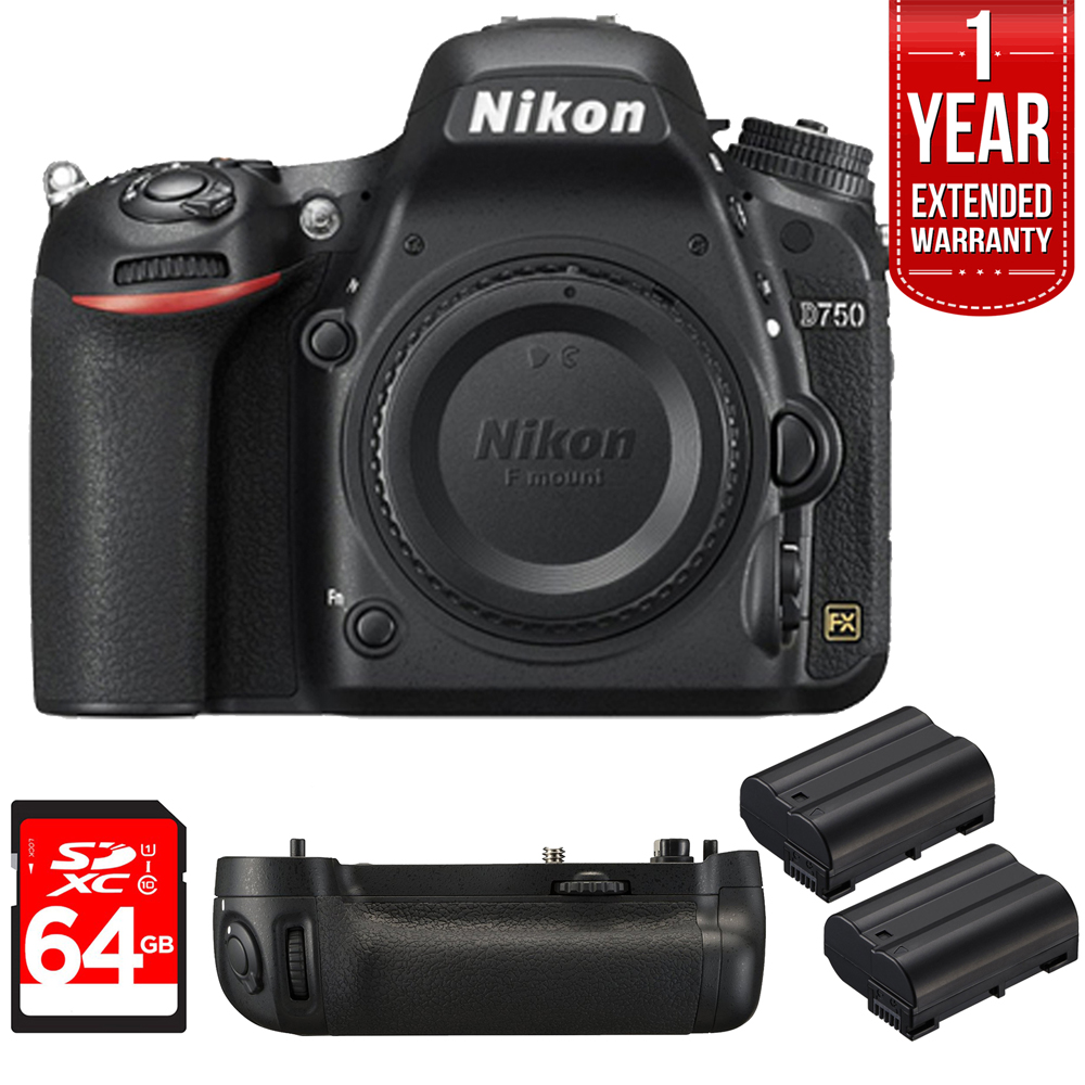 Nikon D750 DSLR 24.3MP HD 1080p FX-Format Digital Camera 64GB Bundle, Includes...