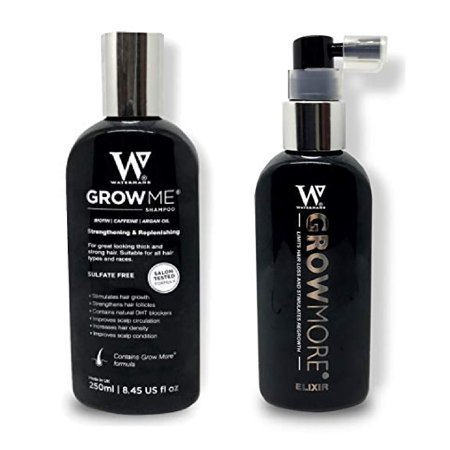 Waterman's Grow Me, Best Hair Growth Shampoo for Women & Men, 8.45 Oz + Waterman's GrowMore Elixir with Biotin, Lupine Protein, Rosemary, 3.4 Oz + Cat Line Makeup