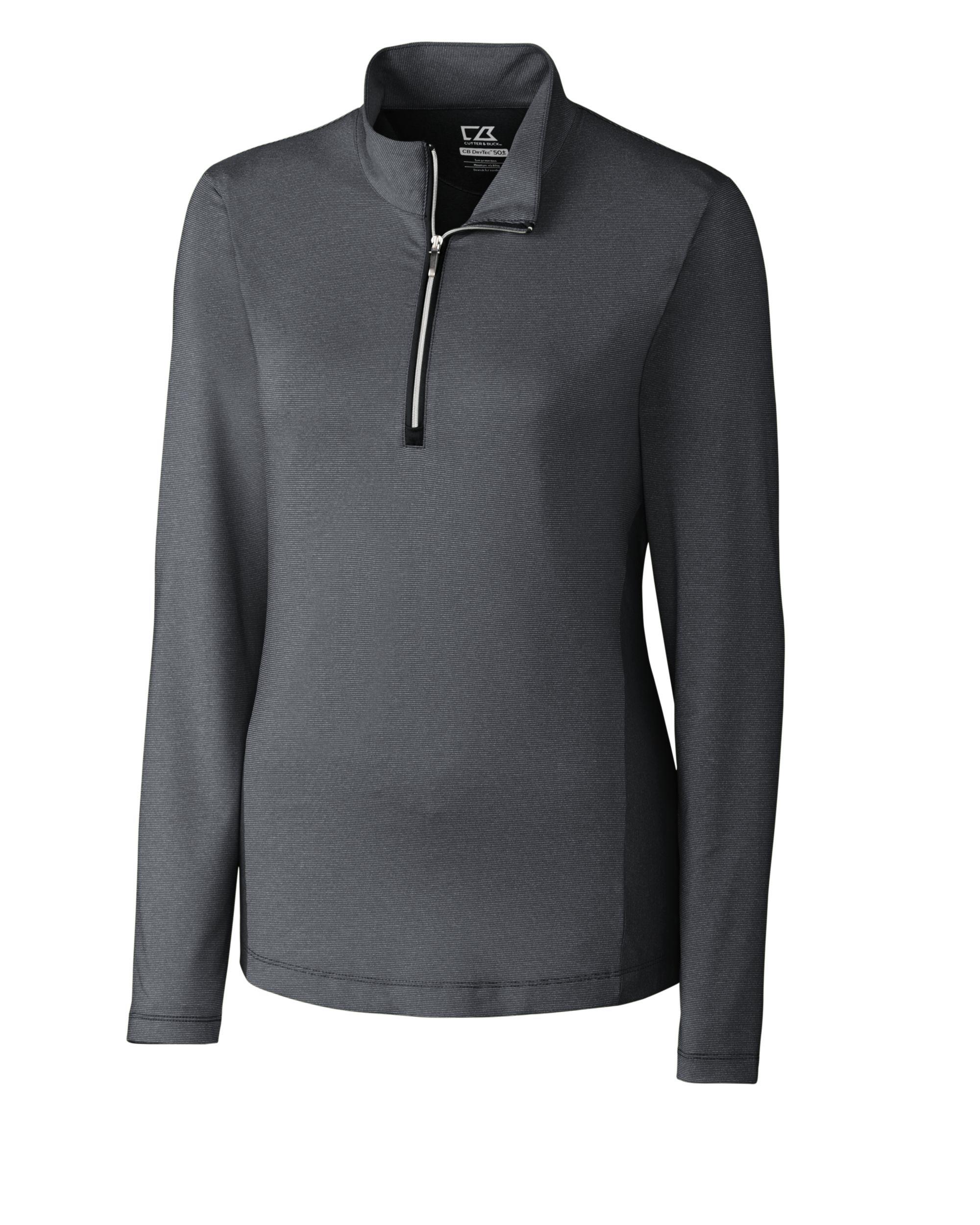 cutter & buck women's cb drytec long sleeve madeline half zip mock, black, medium