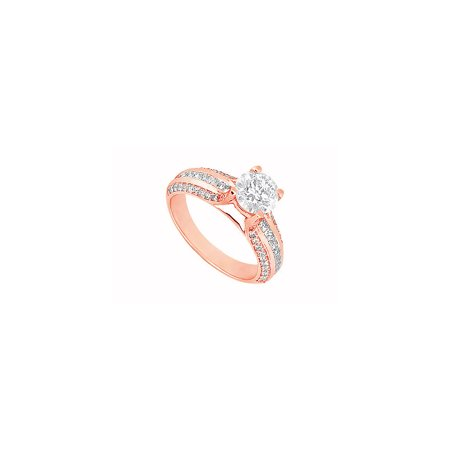 April Birthstone Cubic Zirconia Engagement Ring in 14K Rose Gold 1.25 CT TGW - image 2 de 2