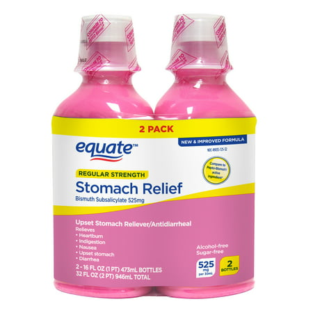 Equate Upset Stomach Relief Bismuth Liquid, 16 oz, 2 Pack