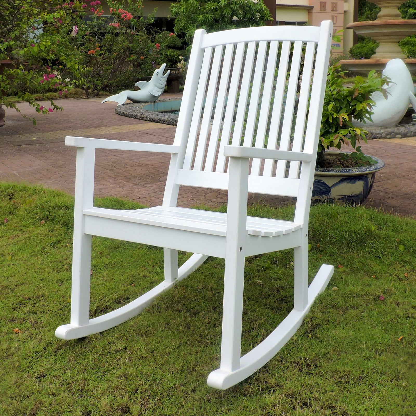 International Caravan Chelsea Acacia Large Painted Porch Rocker