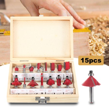 15Pcs Router Bit Set Wood Working 1/4'' Shank Tungsten Carbide Rotary Tool Kit - image 3 of 8