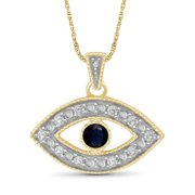 """JewelersClub 1/7 Carat T.G.W. Sapphire And White Diamond Accent 14K Gold Over Silver Evil Eye Pendant, 18"""""""