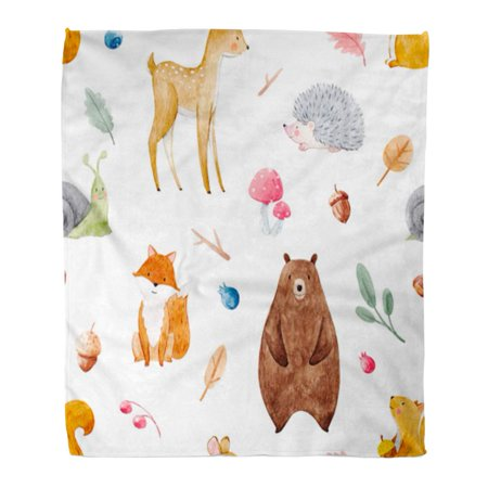 ASHLEIGH Flannel Throw Blanket Colorful Watercolor Cute Forests Baby Deer Squirrel Fox Soft for Bed Sofa and Couch 50x60 Inches