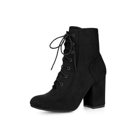 44fc4cd7374 Women Round Toe Chunky High Heel Lace Up Booties