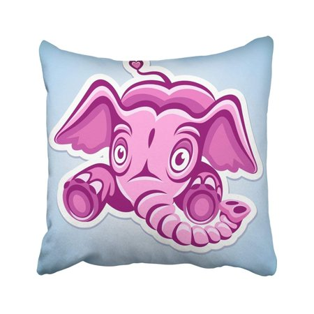 BOSDECO Red Rose Flying Cartoon Pink Elephant Animal Character Childhood Clipart Drawing Ear Eye Pillowcase Throw Pillow Cover Case 18x18 inches - image 1 of 2
