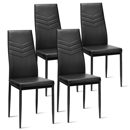 Topbuy Kitchen Set of 4 Dining Chair PVC Leather Metal Base High Back ()