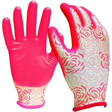 Digz 7602-26 Stretch Knit Garden Gloves, Pink, Nitrile Coating, Medium