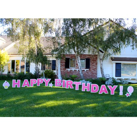 Yard Card Happy Birthday! Girl Decorating 18pc Over 18