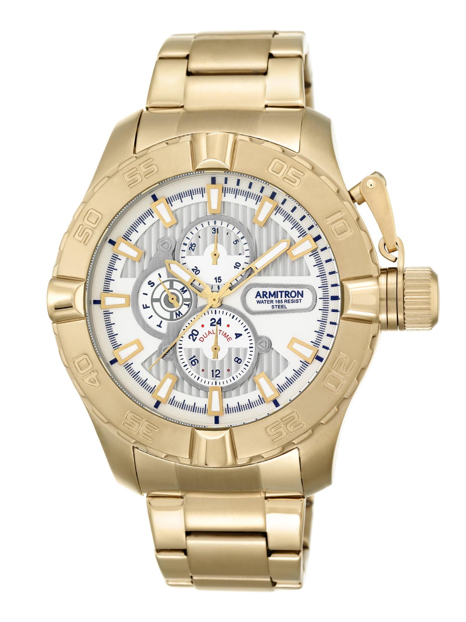Men's Dress Bracelet Round Watch, Gold
