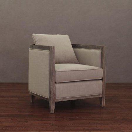 I Love Living Elliot Beige Linen Lounge Chair Walmart Com
