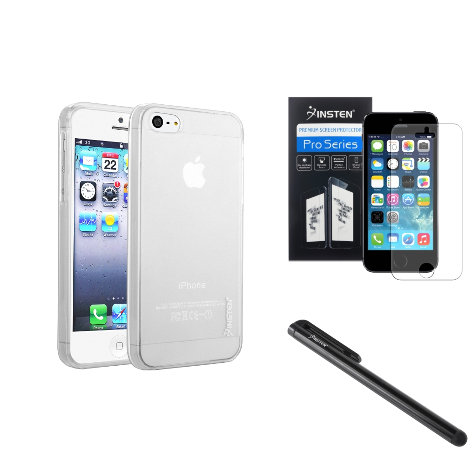Insten White Clear Thin Rubber TPU Case+Anti Glare Film For iPhone 5S 5+Black Stylus