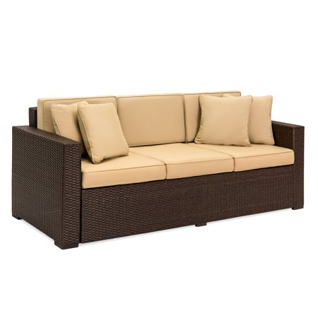 Best ChoiceProducts Outdoor Wicker Patio Furniture Sofa 3 Seater Luxury Comfort Brown Wicker Couch ()
