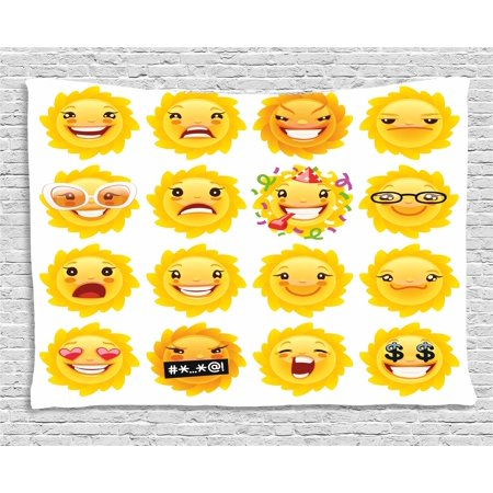 Emoji Tapestry, Smiley Surprised Sad Hot Happy Sarcastic Angry Mood Sun like Faces Plain Backdrop Print, Wall Hanging for Bedroom Living Room Dorm Decor, 60W X 40L Inches, Yelow, by Ambesonne ()