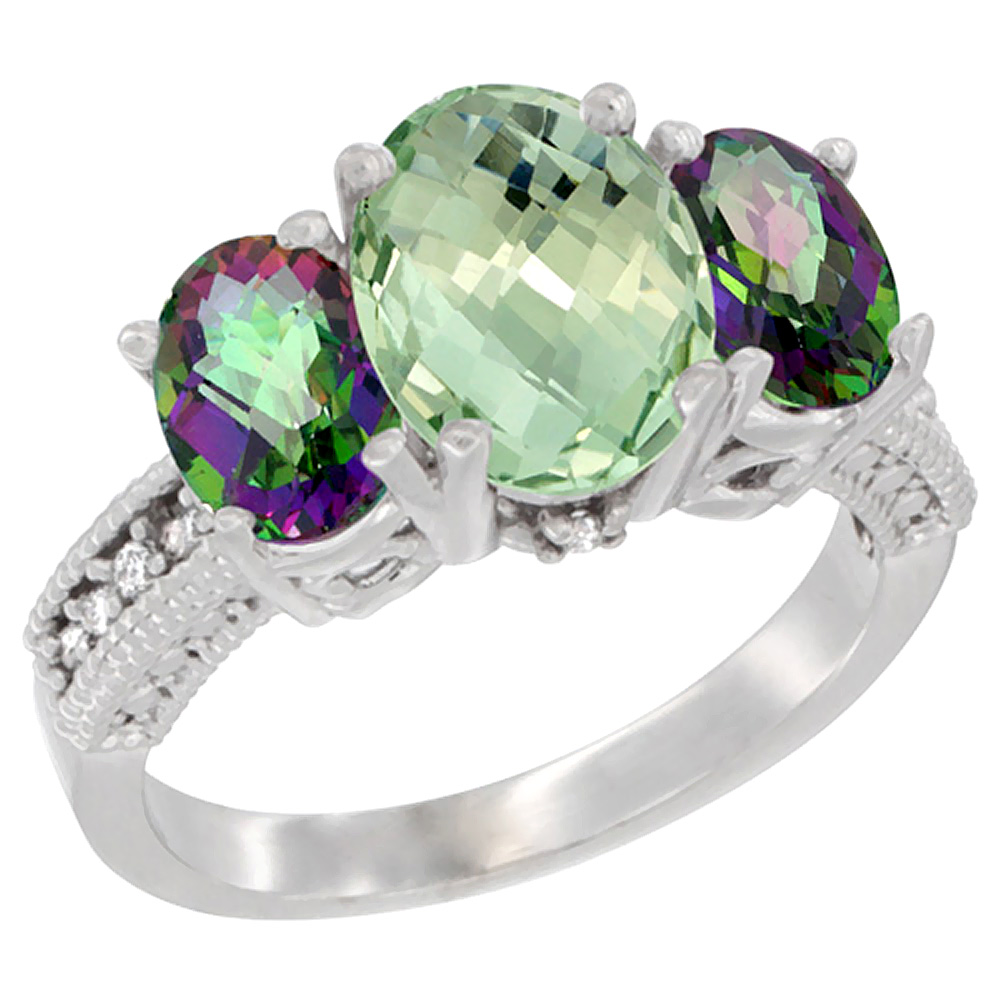 10K White Gold Diamond Natural Green Amethyst Ring 3-Stone Oval 8x6mm with Mystic Topaz, sizes5-10