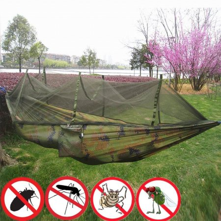 Zeepin Lightweight Portable Nylon Camping Hammock for Backpacking Travel Hammock with Mosquito Net and Straps by