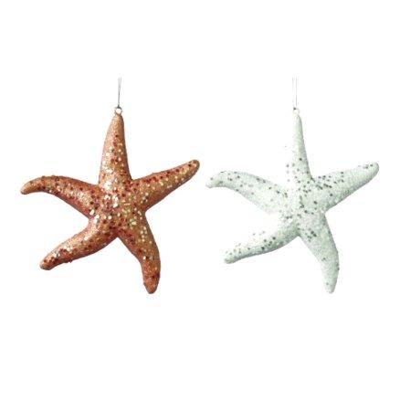 Starfish Christmas Ornaments (Coastal Glittery Starfish Christmas Holiday Ornaments Set of)