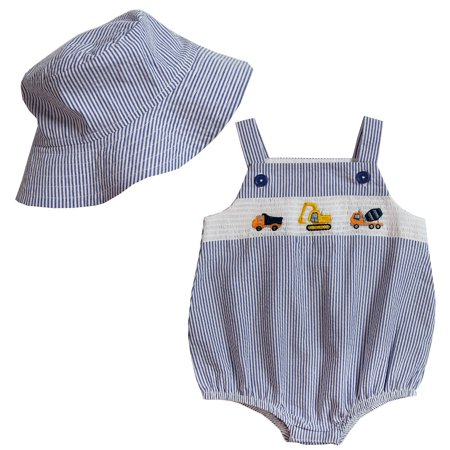 Good Lad Newborn/Infant Boys Navy Seersucker Smocked with Construction Trucks Embroideries and Matching Hat (Halloween Smocked Outfits)